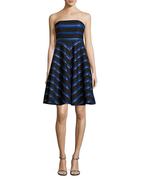 Strapless Metallic-Stripe Fit-and-Flare Cocktail Dress