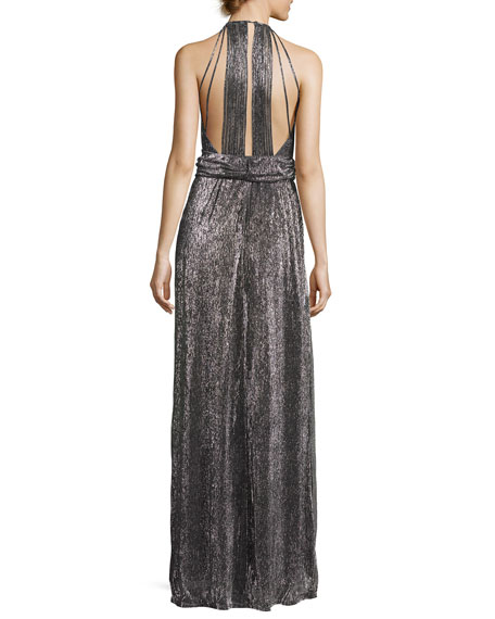 Sleeveless Halter-Neck Textured Metallic Evening Gown