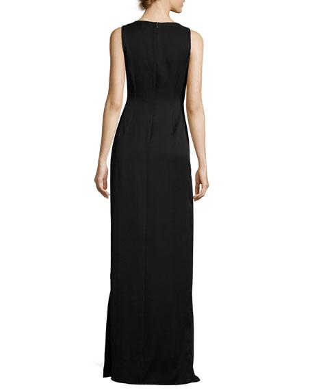 Sleeveless Round-Neck Colorblocked Flounce-Skirt Evening Gown