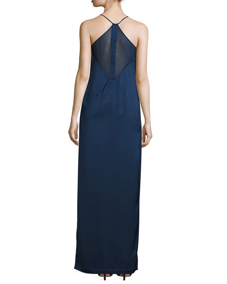 Sleeveless V-Neck Satin Slip Evening Gown