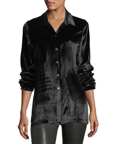 Nora Button-Front Velvet Shirt