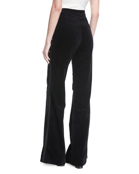 Isabella High-Rise Tailored Wide-Leg Velveteen Pants