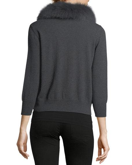 Fox Fur-Collar Wool Cardigan