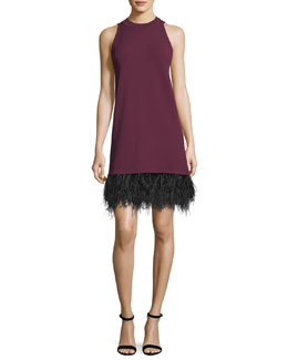 Sleeveless Cocktail Shift Dress w/ Ostrich Feather Hem