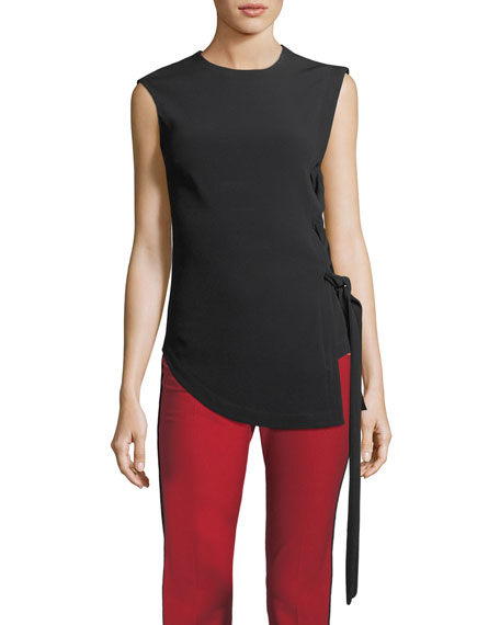 Sleeveless Asymmetric Top w/ Lacing