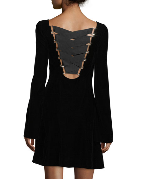 Long-Sleeve Lace-Up Back Velvet Dress