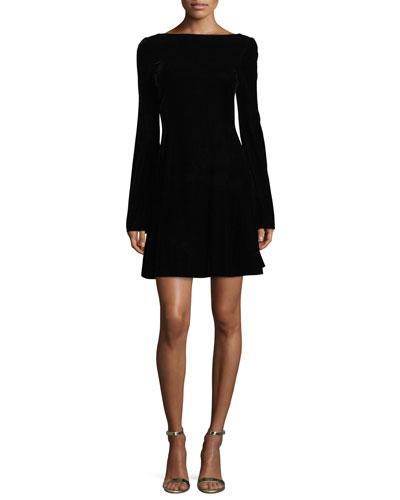 Long-Sleeve Lace-Up Back Velvet Dress