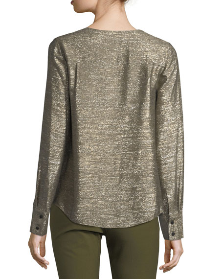 Tie-Front Long-Sleeve Metallic Blouse