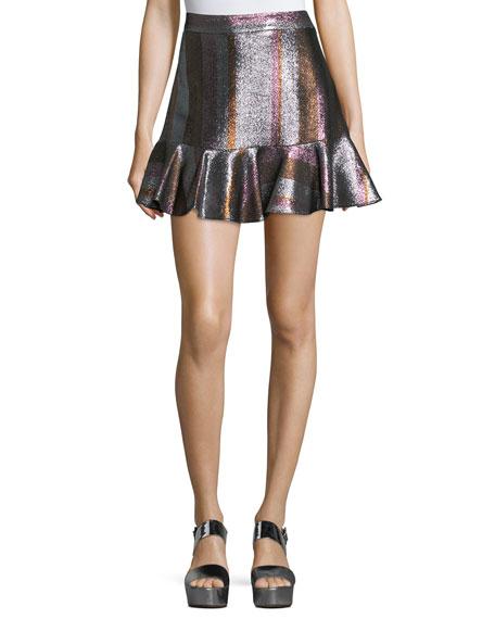Metallic Ruffle-Hem Flounce Skirt