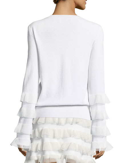 V-Neck Long-Sleeve Wool Sweater w/ Ruffled Trim