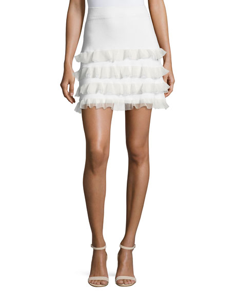 Tiered Ruffled Fitted Mini Skirt