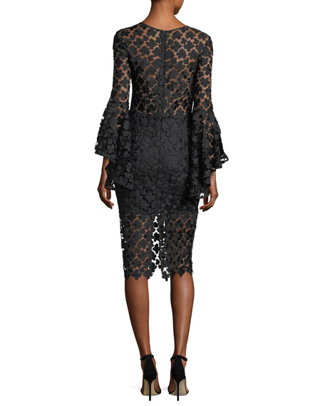 Anya Floral-Embroidered Lace Cocktail Dress