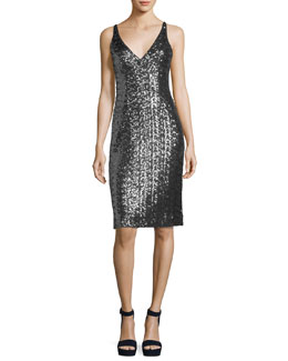 Sea-Glass Sleeveless V-Neck Sequin Cocktail Dress
