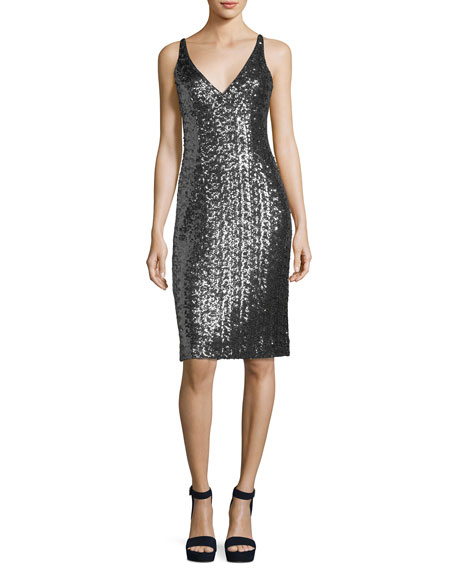 Sea-Glass Sleeveless V-Neck Sequin Cocktail Dress