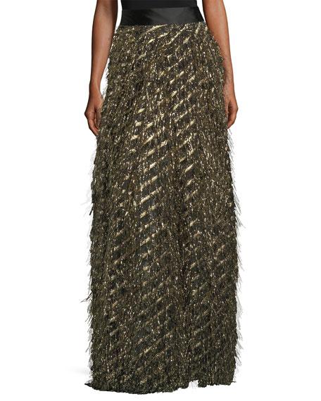 Fringed Diagonal Metallic Ball Skirt
