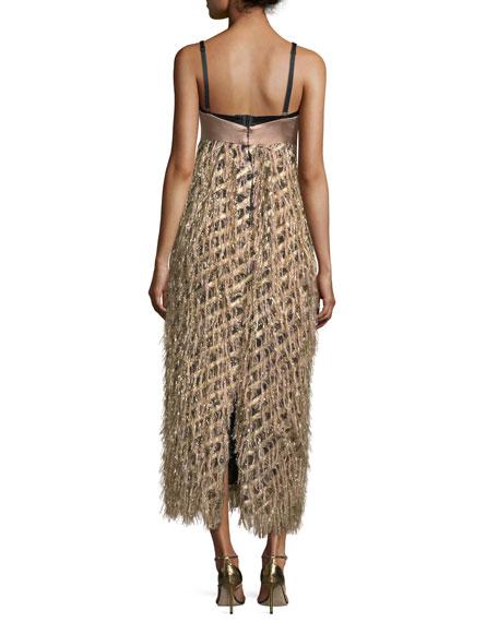 Courtney Sleeveless Diagonal Lurex® Fringed Cocktail Dress