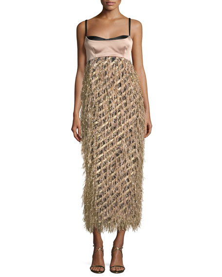 Courtney Sleeveless Diagonal Lurex® Fringed Cocktail Dress