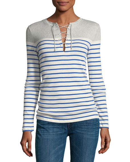 Striped Knit Lace-Up Top