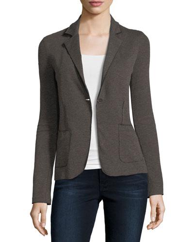 Double-Face Cotton/Cashmere One-Button Blazer