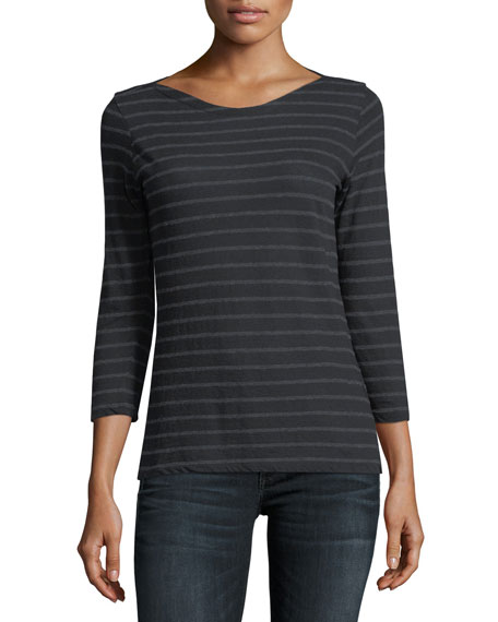 Striped Boat-Neck Pullover Top