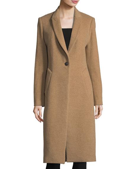 Duke One-Button Long Wool-Blend Coat