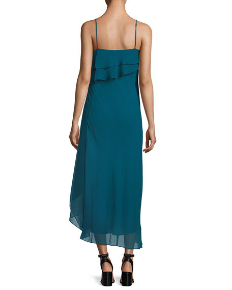 Asymmetric-Layers Sleeveless Chiffon Midi Cocktail Dress