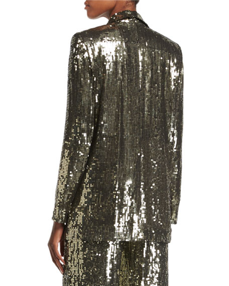 Jace Sequin Shawl-Collar Oversized Blazer