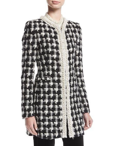 Andreas Mid-Length Collarless Tweed Jacket w/ Pearlescent Trim
