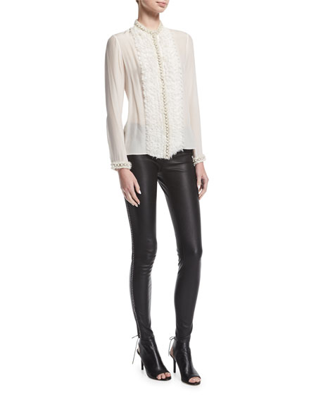 Maddox Front-Zip Leather Leggings w/ Chain Detail