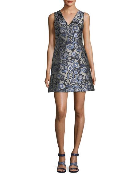 Malin V-Neck Paisley Jacquard Sleeveless Cocktail Dress
