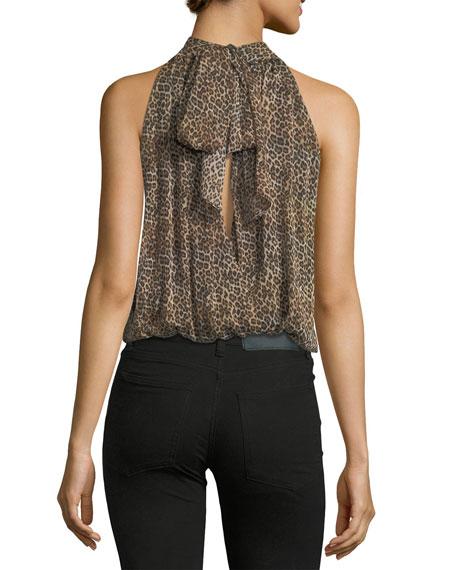 Maris Gathered Leopard-Print Sleeveless Halter Top