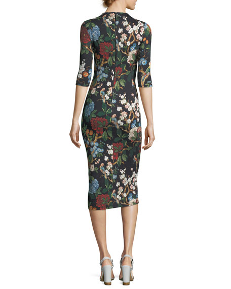 Alice Olivia Delora Floral Print Fitted Mock Neck Midi Dress