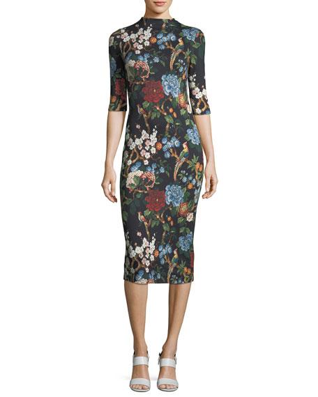 Delora Floral-Print Fitted Mock-Neck Midi Dress