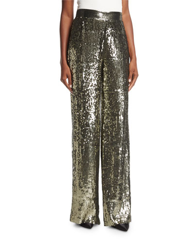 Racquel High-Waist Wide-Leg Sequin Pants