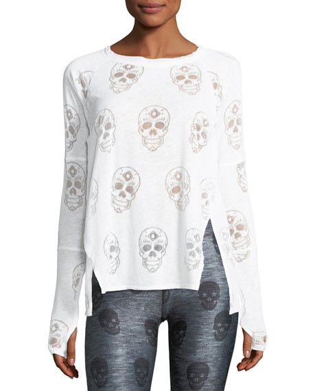 Crewneck Long-Sleeve Skull-Burnout Top