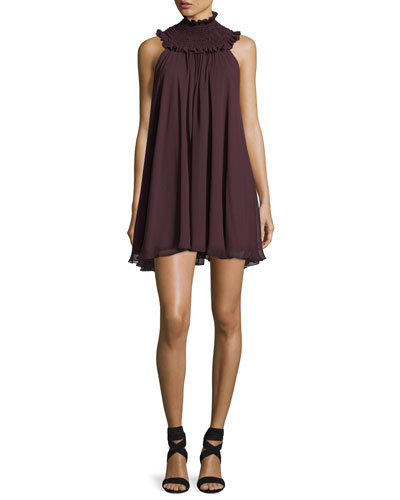 Vicki Smoked-Neck Sleeveless Swing Dress