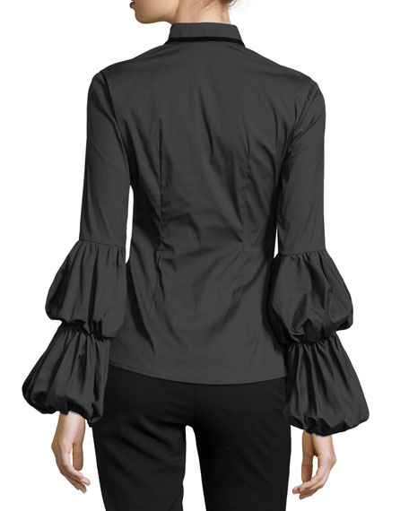 Yasmin Tiered-Sleeves Tie-Neck Poplin Blouse