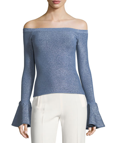 Off-the-Shoulder Bell-Cuffs Fitted Metallic Sweater