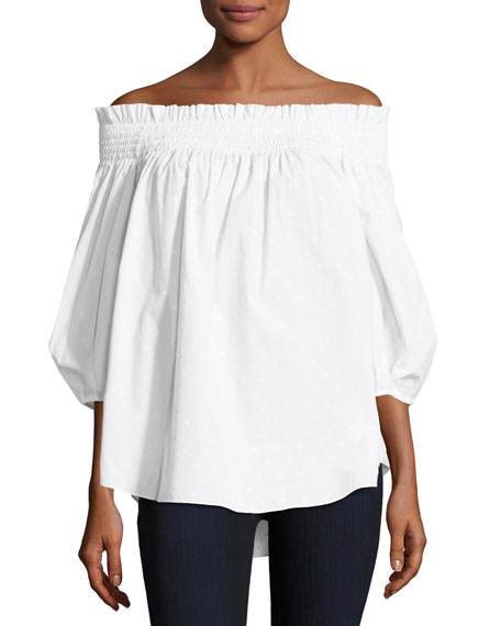 Lou Off-the-Shoulder Dotted Poplin Top