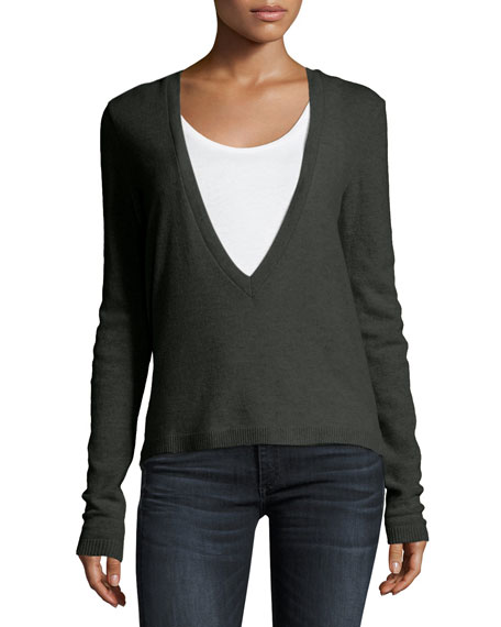 Long-Sleeve V-Neck Sweater with Poplin Underpinning