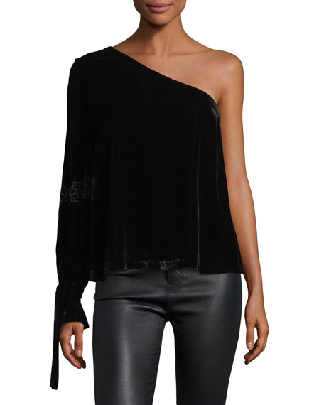 Anka One-Shoulder Velvet Top
