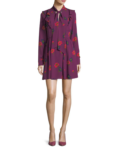 Aubree Tie-Neck Spaced Out Floral-Print Short Dress