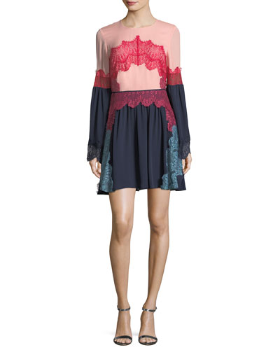Cyra Lace Applique Silk Mini Dress