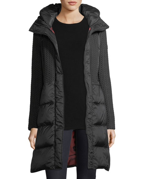 Hazel Quilted Puffer Coat w/ Cable-Knit