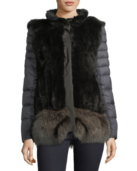 Ortles Two-Piece Fur Vest & Quilted Puffer Jacket