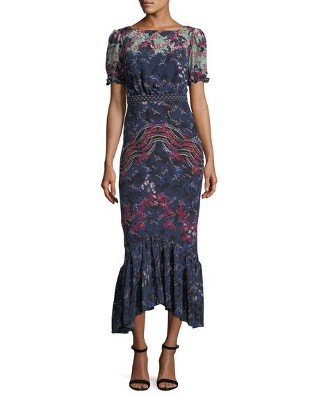 Mira Boat-Neck Printed Silk Midi Dress