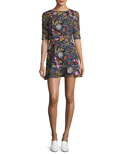 Celia-C Elbow-Sleeve Printed Mini Dress
