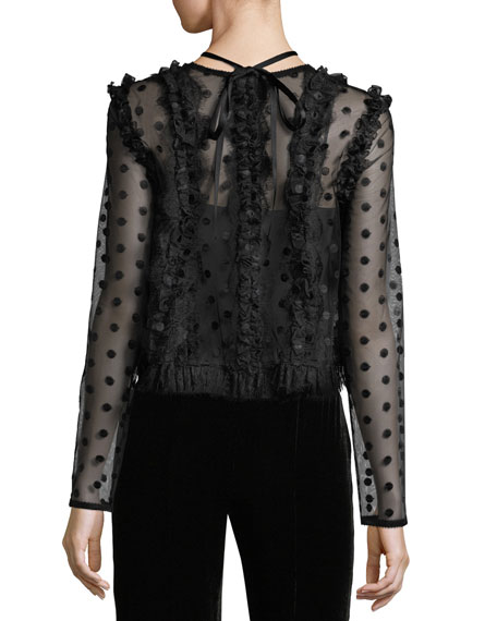 Clementine V-Neck Dotted Mesh Blouse