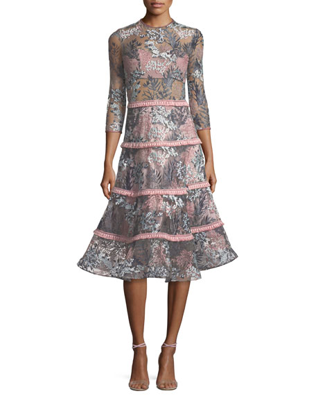 ed4611fdfbe Alexis Ruth Embroidered Long-Sleeve Illusion Cocktail Dress