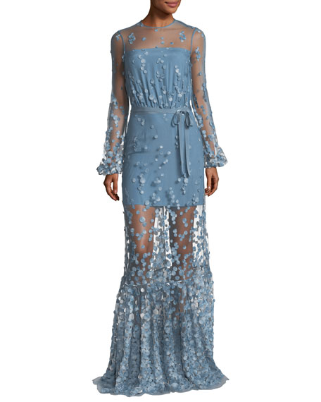 Corra High-Neck Illusion Evening Gown